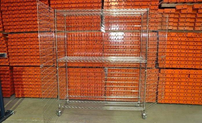 b0296e9853a WIRE SHELVING SECURITY CART 24  DEEP X 60  WIDE X 74  TALL  WITH 3 ...