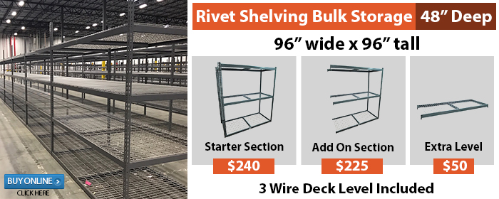 RIVET SHELVING BULK STORAGE
