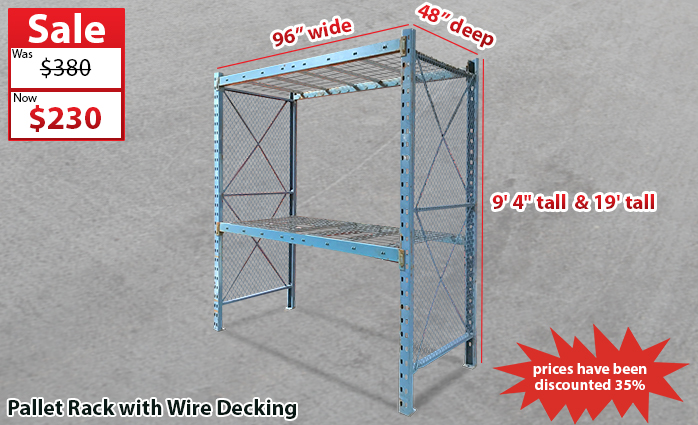Clearance Pallet Rack With Wire Decking : Warehouse Rack Company, Inc.